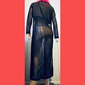 Vintage Jackets & Coats - VTG 90s Vamp Wicked Goth Sheer Black Duster Jacket